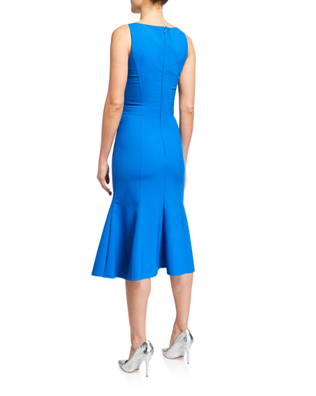 Image 2 of 2: Oscar de la Renta Bateau-Neck Fold-over Flounce Dress