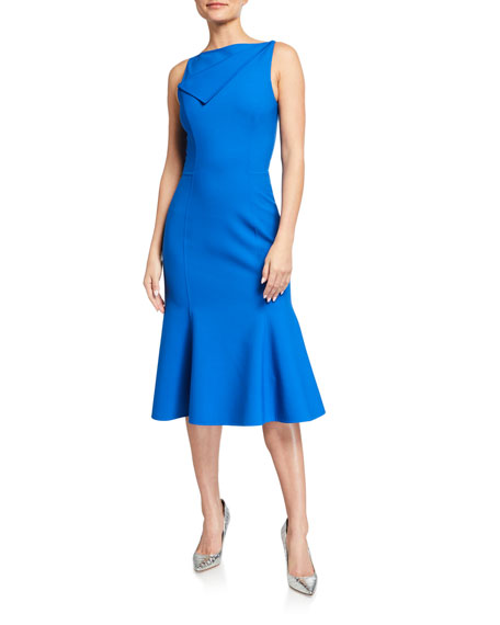 Image 1 of 2: Oscar de la Renta Bateau-Neck Fold-over Flounce Dress