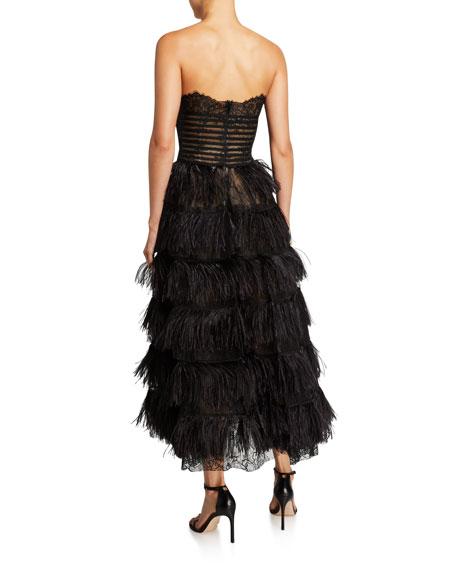 Oscar de la Renta Lace Bodice Strapless Feather-Skirt Gown