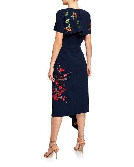 Oscar de la Renta Floral Print Asymmetric Dress