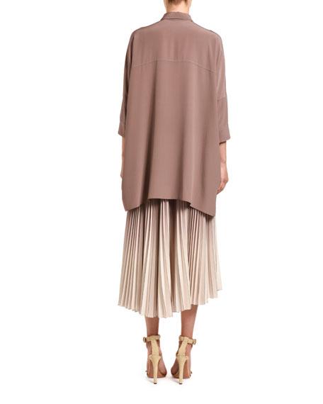 Agnona Oversized Silk Poncho Shirt