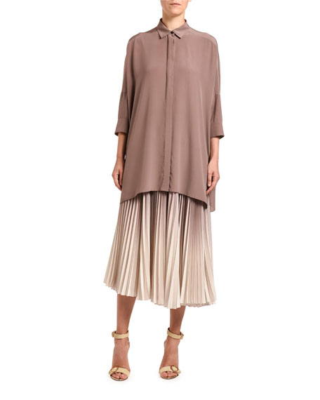Agnona T-shirts OVERSIZED SILK PONCHO SHIRT