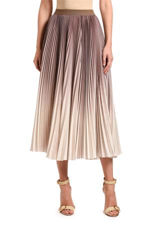 Agnona Ombre Pleated Midi Skirt