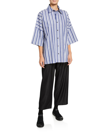 Eskandar Wool-Silk Japanese Trousers