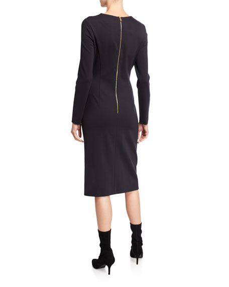 Image 2 of 2: Escada Diasa Ruched Jersey Long-Sleeve Dress