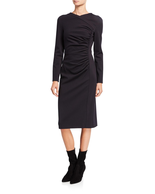 Escada Diasa Ruched Jersey Long-Sleeve Dress