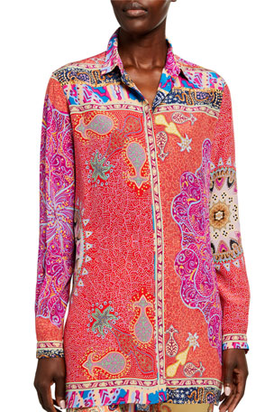 Etro Quadrant Printed Tunic Shirt