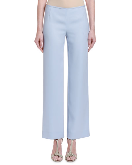 Image 1 of 2: Giorgio Armani Chambray Straight-Leg Pants