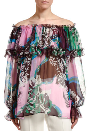 Emilio Pucci Floral-Print Ruffled Silk Off-the-Shoulder Blouse