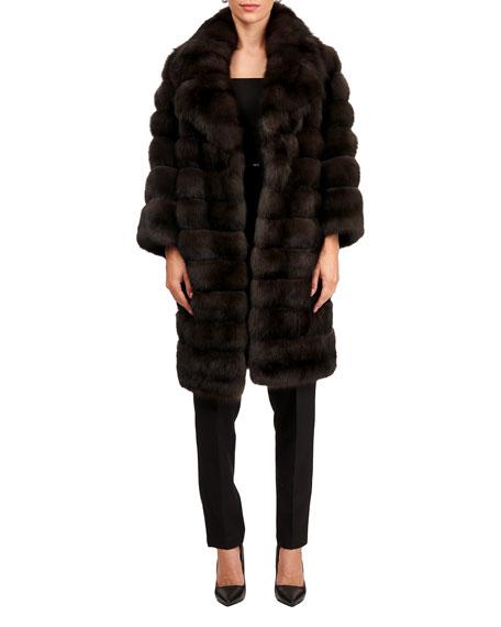 Maurizio Braschi Russian Sable Horizontal Fur Stroller Coat