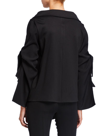 ADEAM Tiered Tie-Sleeve Button-Front  Blouse