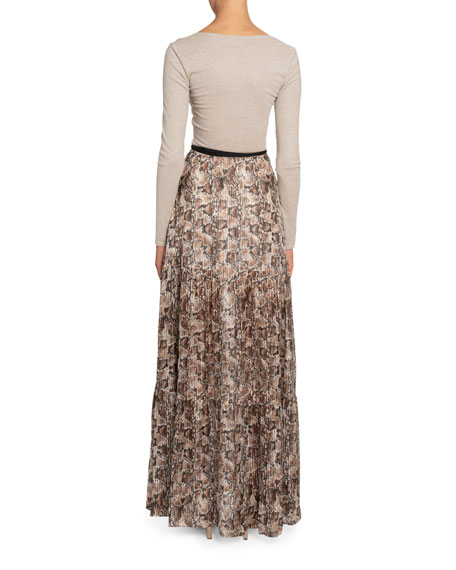 Altuzarra Pollie Python-Print Plisse-Skirt Dress