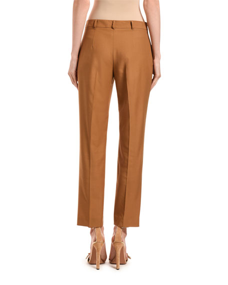 Agnona Wool Straight-Leg Crop Pants