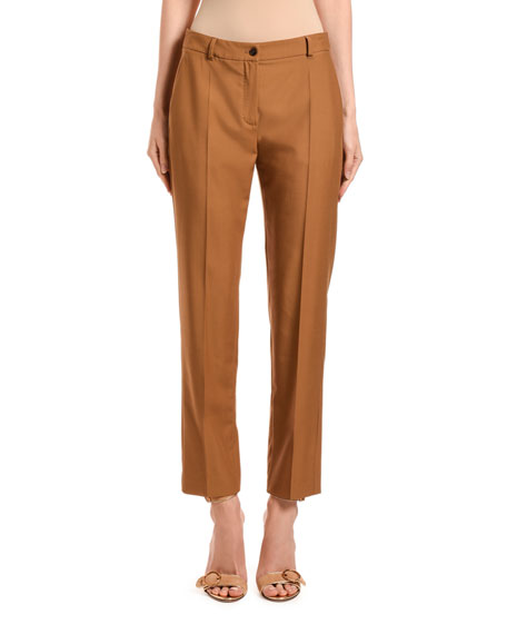 Agnona Pants WOOL STRAIGHT-LEG CROP PANTS
