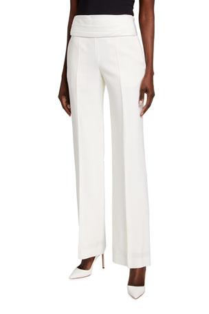 Victoria Beckham Cummerbund-Waist Wool Tuxedo Trousers