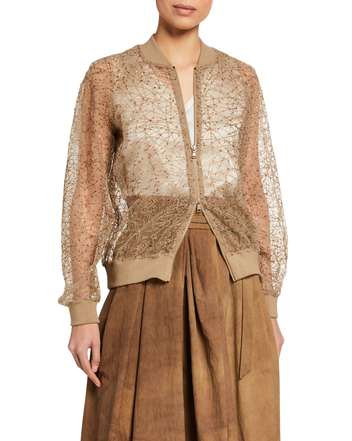 Brunello Cucinelli Sequined Netted Bomber Jacket and Matching Items & Matching Items