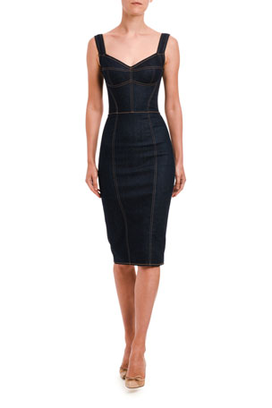 Dolce & Gabbana Sleeveless Stretch Denim Pencil Dress