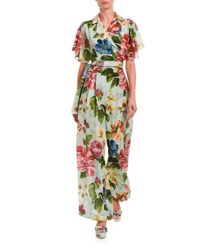 Flutter Sleeve Floral-Print Crepe Jumpsuit