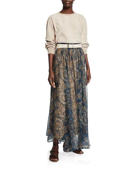 Brunello Cucinelli Printed Chiffon Pull-On Maxi Skirt