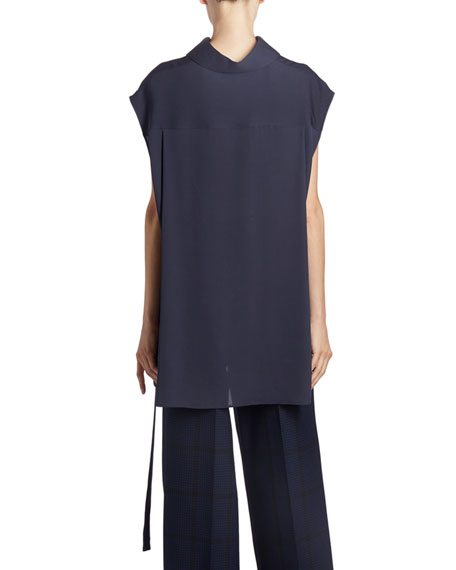 Image 2 of 2: Nina Ricci Silk Sleeveless Button-Front Tie-Waist Shirt
