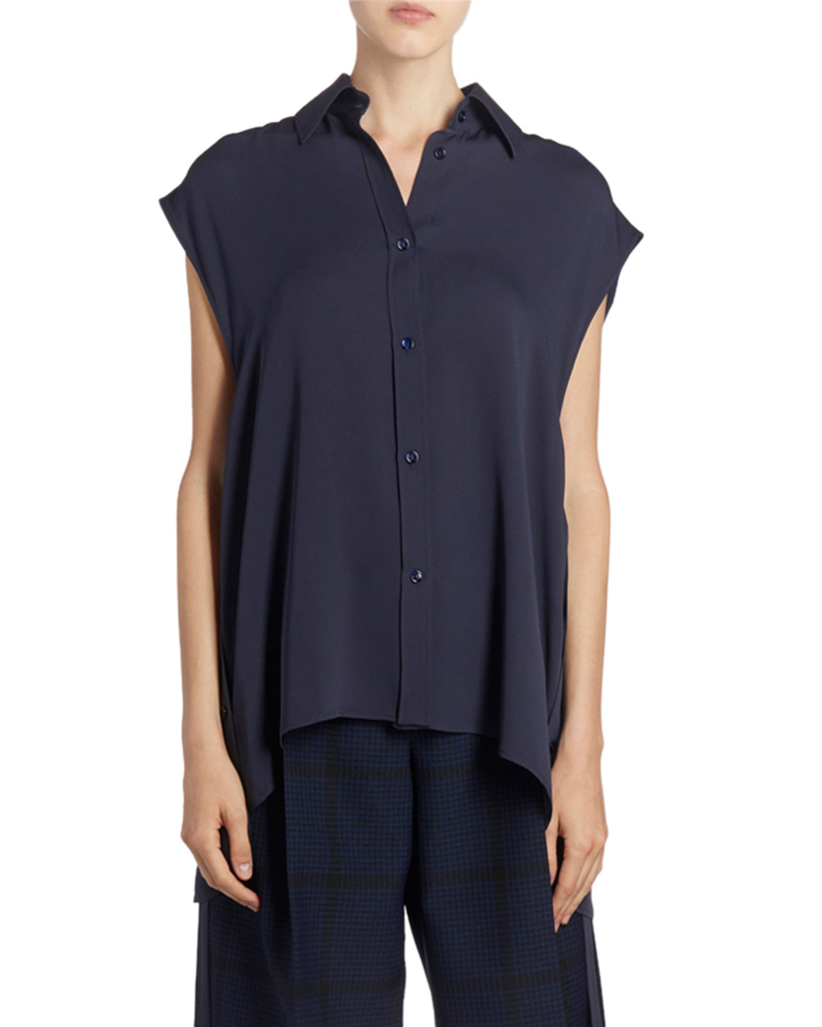 Nina Ricci Silk Sleeveless Button-Front Tie-Waist Shirt