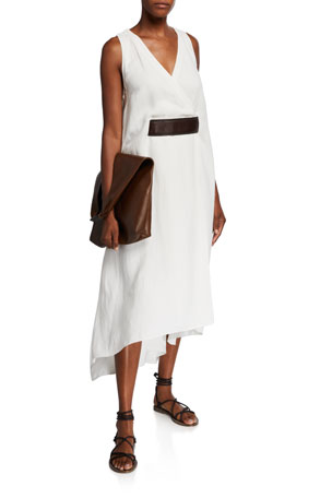 Brunello Cucinelli Leather-Belted Linen Twill V-Neck Dress