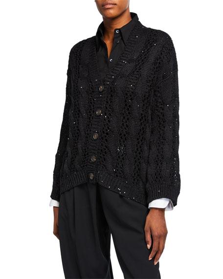 Brunello Cucinelli Sequin Crochet Cotton-Linen-Silk Cardigan