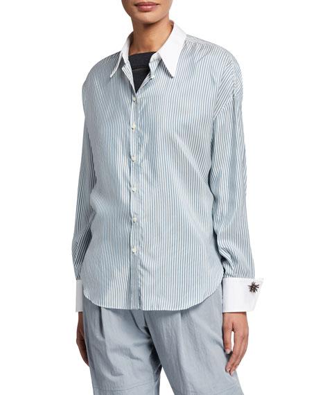 Brunello Cucinelli Silk-Striped Monili-Cuff Blouse