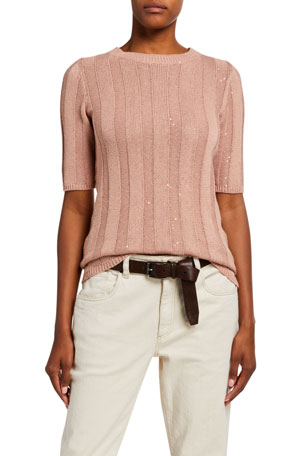 Brunello Cucinelli Wide-Ribbed Cotton-Lien 1/2-Sleeve Sweater