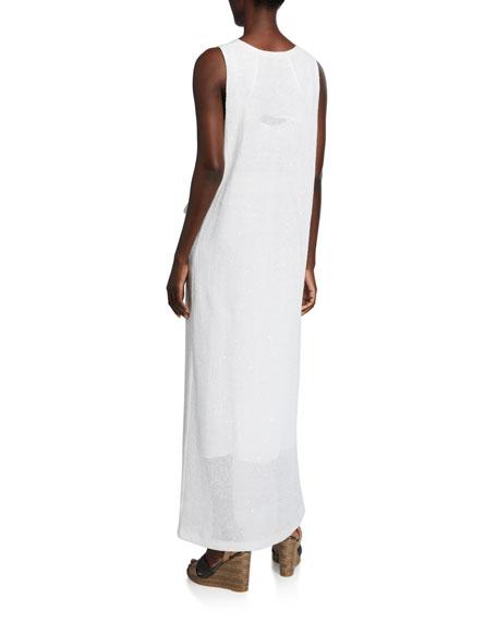 Brunello Cucinelli Sequined Sleeveless Sweater Dress with Grosgrain Belt
