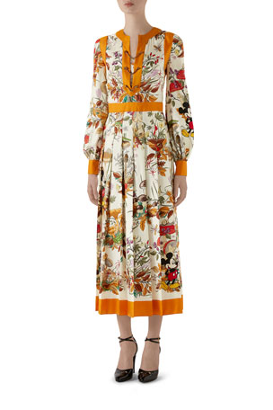 Gucci Autumn Mickey Mouse Long-Sleeve Dress
