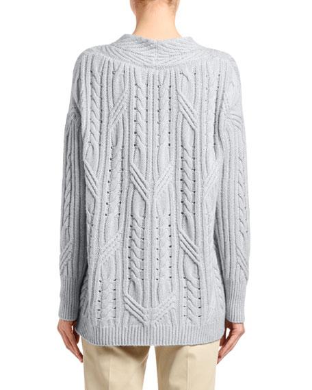 Agnona Cashmere-Linen Scoop-Neck Sweater