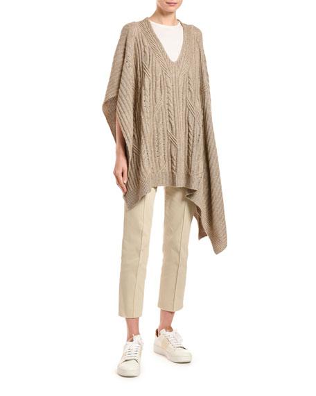 Agnona Cashmere-Linen Cable Knit Poncho