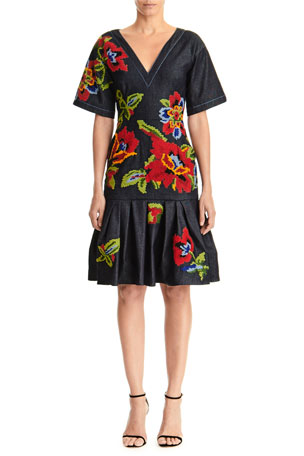 Carolina Herrera Floral Embroidered V-Neck Belted Denim Dress