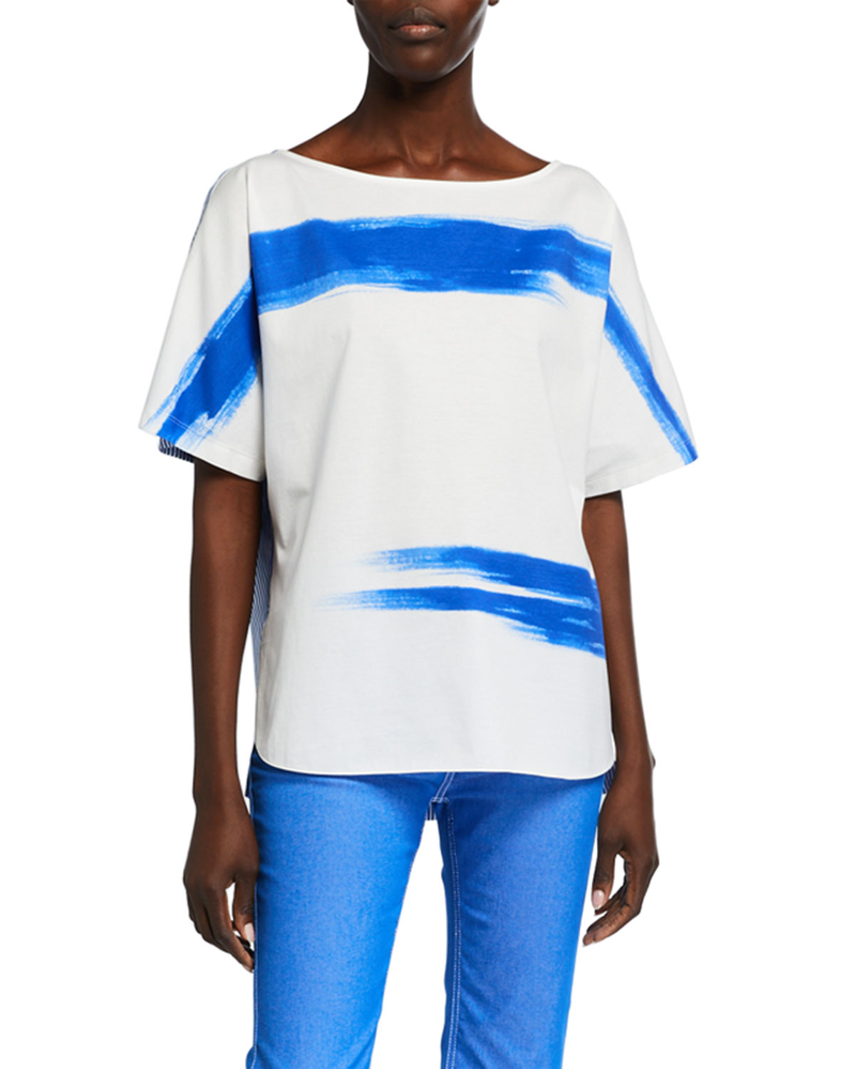 Piazza Sempione Painted Jersey Front T-Shirt with Poplin Back