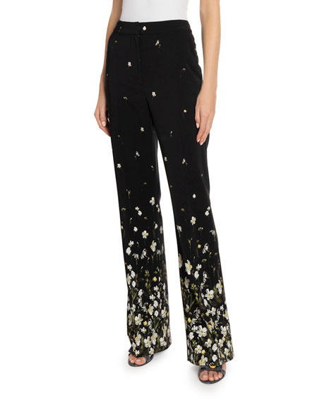 Erdem Daffodil-Print Cady Wide Leg Pants