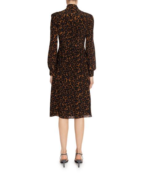 Erdem Ravia Leopard-Print Chiffon Tie-Neck Dress