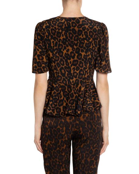 Erdem Laliya Leopard-Print Silk Bow-Tied Blouse