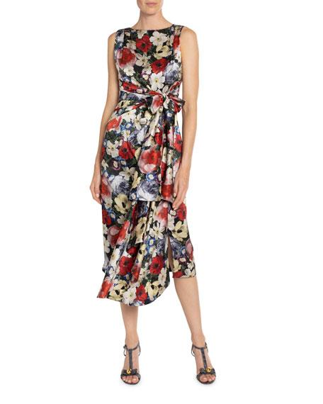 Erdem ROZARIA FLORAL-PRINT SILK BOW-WAIST DRESS