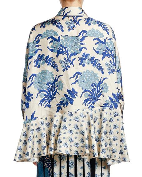 Antonio Marras Japanese Floral Patchwork Silk High-Low Shirt
