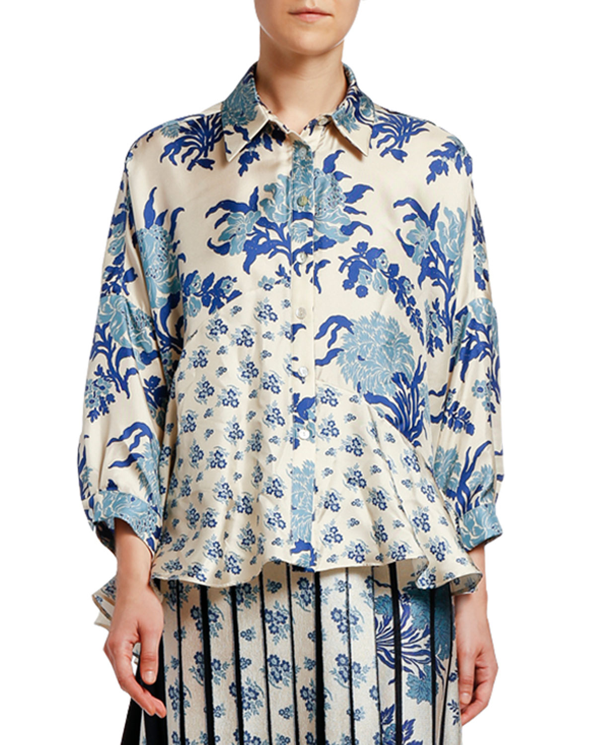 Antonio Marras Japanese Floral Patchwork Silk High-Low Shirt