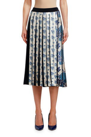Antonio Marras Floral-Print Patchwork Pleated Midi Skirt