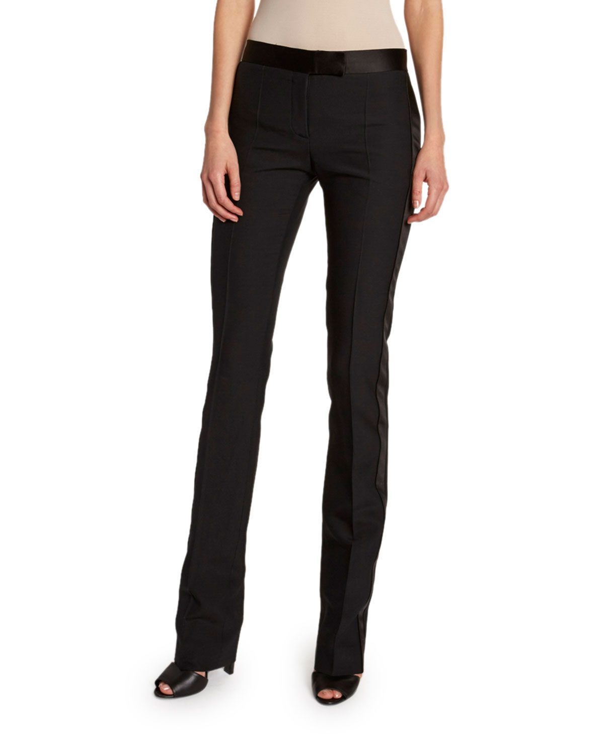 TOM FORD Tuxedo-Striped Wool-Silk Slim Pants