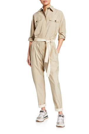 Brunello Cucinelli Crinkled Cotton Safari Jumpsuit