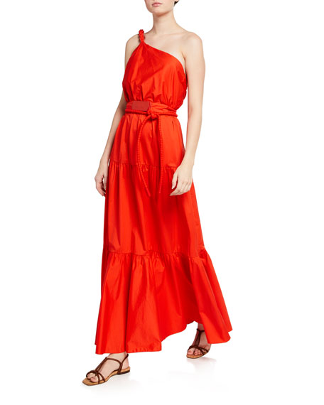 Johanna Ortiz Poplin One-Shoulder Gown