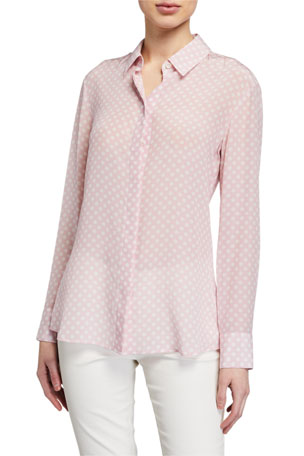 Altuzarra Polka-Dot Button-Front Top