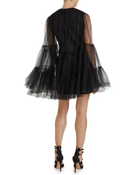Image 2 of 3: Giambattista Valli Crewneck Tulle Bell-Sleeve Dress