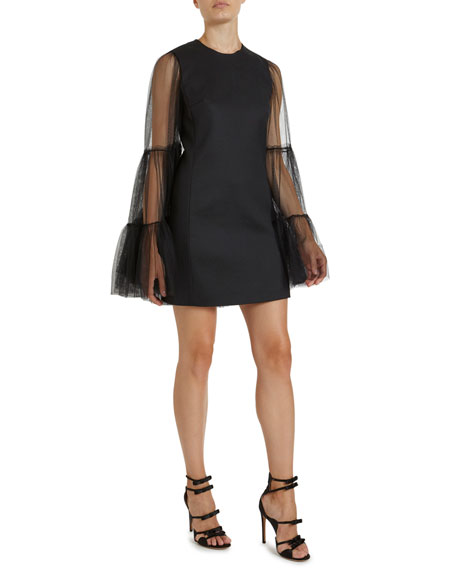 Image 3 of 3: Giambattista Valli Crewneck Tulle Bell-Sleeve Dress