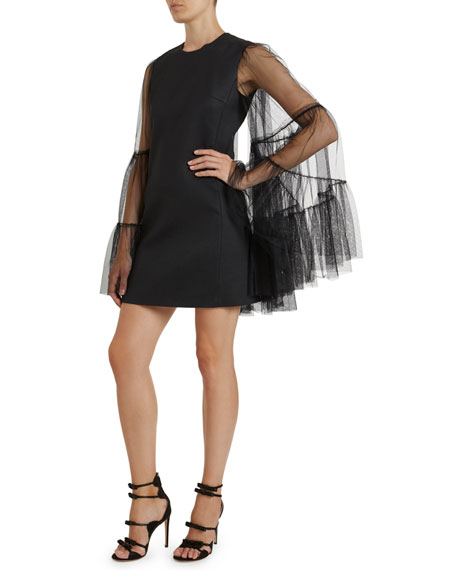 Image 1 of 3: Giambattista Valli Crewneck Tulle Bell-Sleeve Dress