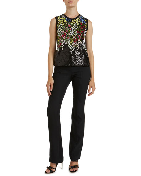 Giambattista Valli Floral-Embroidered Sequined Blouse